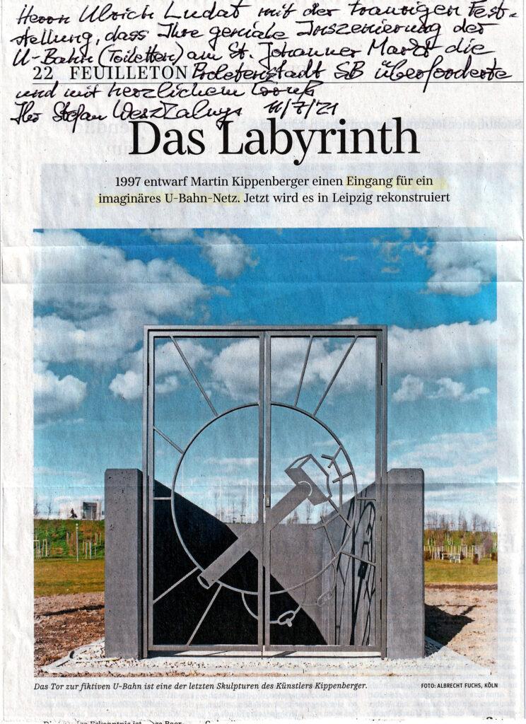 Brief an Ulrich Ludat von Stefan Weszkalnys vom 11.07.2021 mit Artikel aus der 'Süddeutschen Zeitung'.